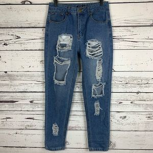 Nasty Gal High Rise Distressed Boyfriend Jean